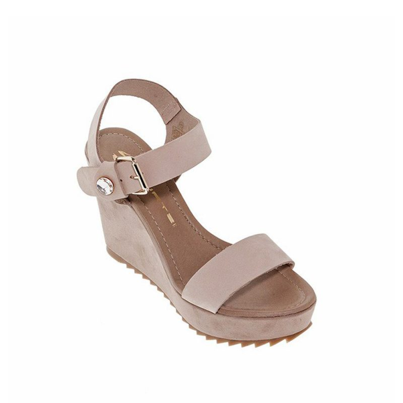 Wedges Taupe Leather