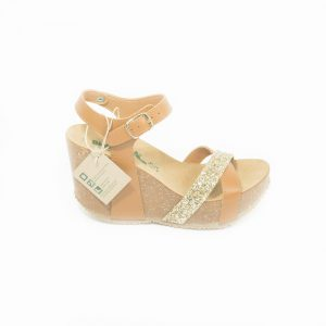 Brown Leather Strass Sandal
